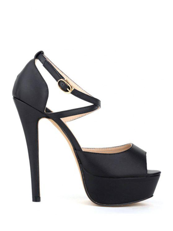 hot Criss-Cross Platform Stiletto Heel Sandals - BLACK 35