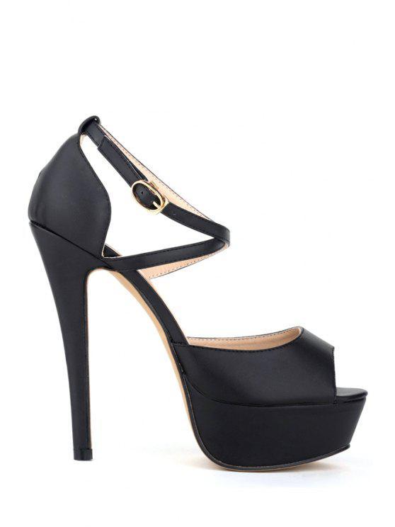 hot Criss-Cross Platform Stiletto Heel Sandals - BLACK 35