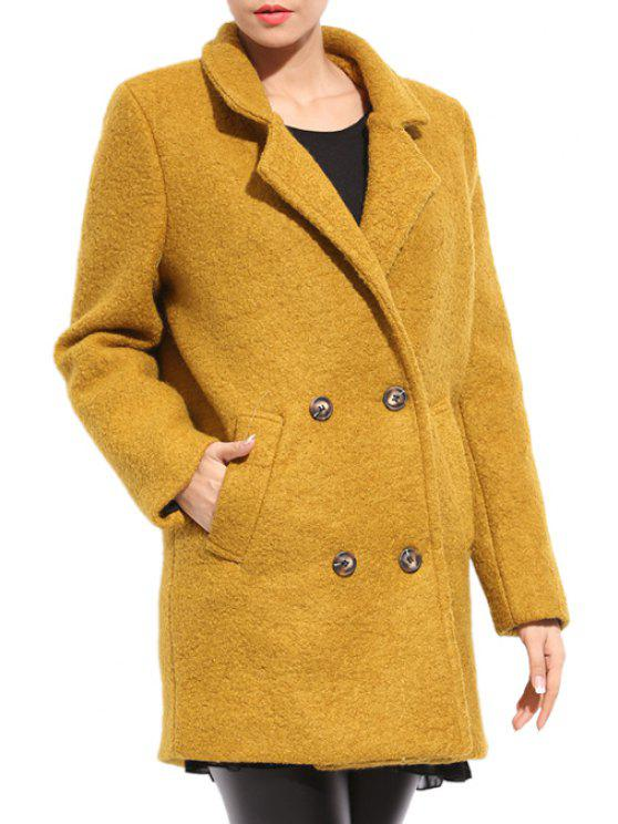 buy Lapel Collar Worsted Solid Color Coat - GINGER ONE SIZE(FIT SIZE XS TO M)
