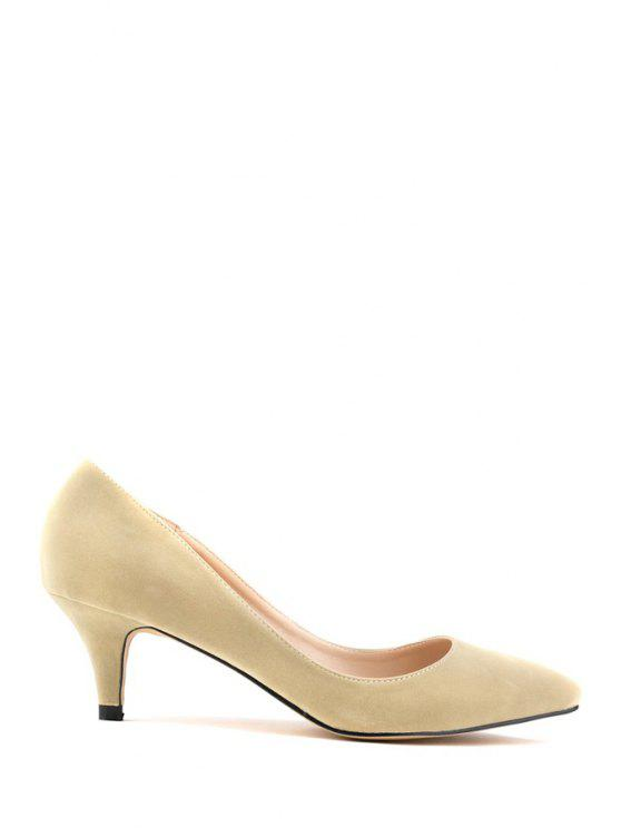 ladies Suede Pointed Toe Solid Color Pumps - APRICOT 39