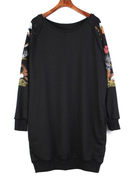 chic Long Sleeve Owl Print Sweatshirt - BLACK ONE SIZE(FIT SIZE XS TO M)