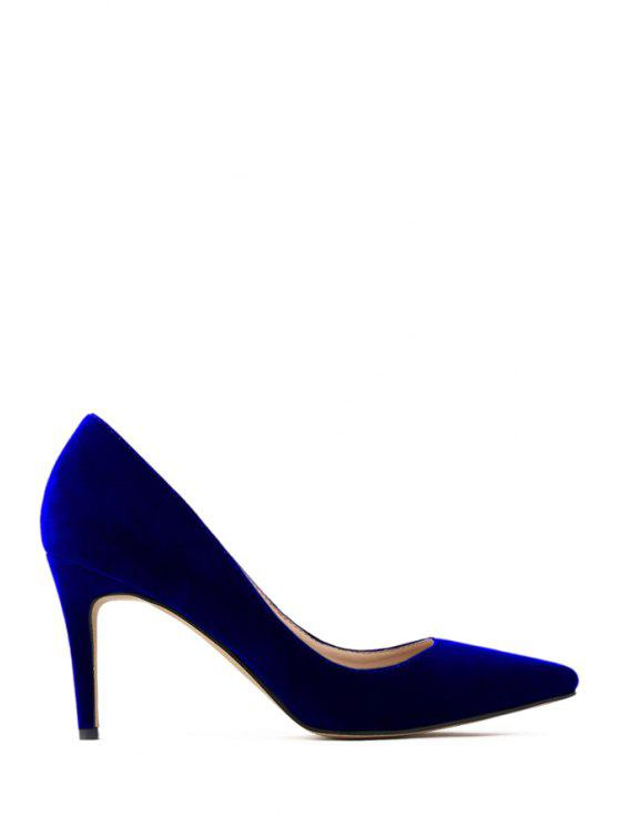 9ff7d9a55d365 41% OFF] 2019 Pointed Toe Suede Stiletto Heel Pumps In BLUE | ZAFUL