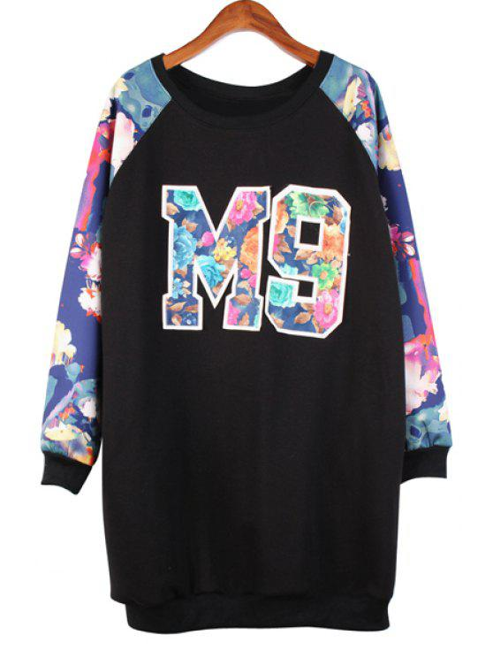 fancy Letter Embroidery Floral Print Sweatshirt - BLACK ONE SIZE(FIT SIZE XS TO M)