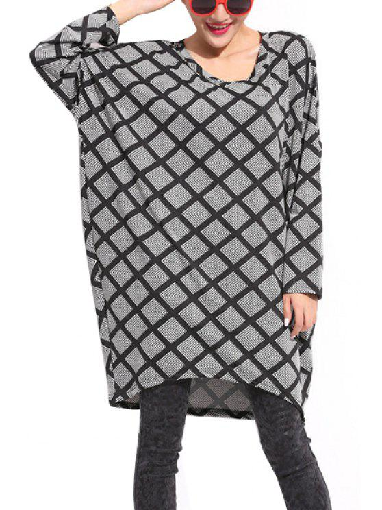 affordable Long Sleeve Argyle Pattern Sweater - GRAY 2XL
