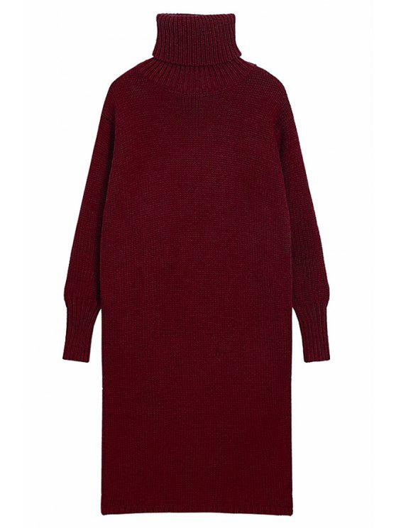 trendy Turtle Neck Solid ColorSweater Dress - CLARET ONE SIZE(FIT SIZE XS TO M)