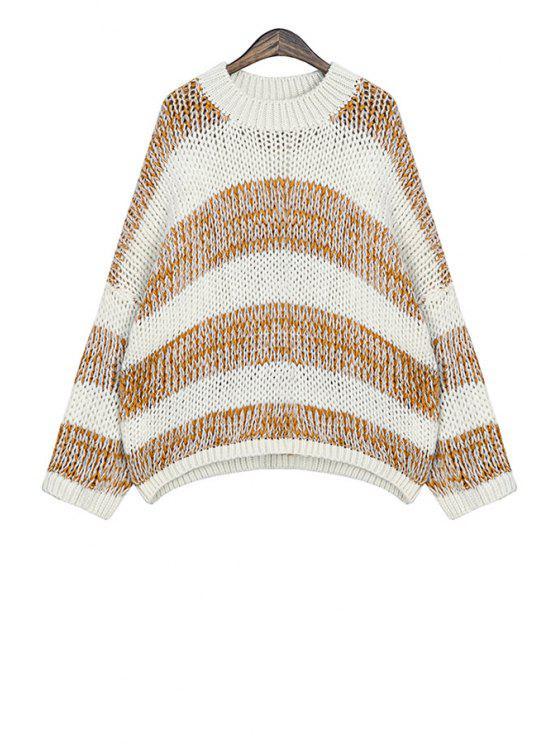 fashion Round Collar Striped Pattern Sweater - KHAKI ONE SIZE(FIT SIZE XS TO M)