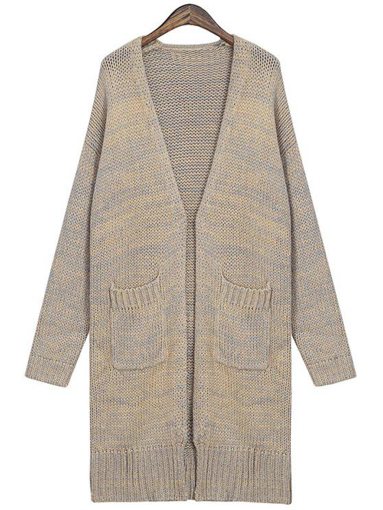 women's Plunging Neck Color Mixed Cardigan - GRAY ONE SIZE(FIT SIZE XS TO M)
