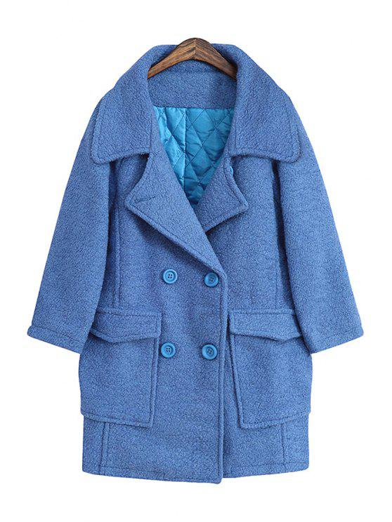 hot Solid Color Lapel Double-Breasted Coat - LIGHT BLUE ONE SIZE(FIT SIZE XS TO M)