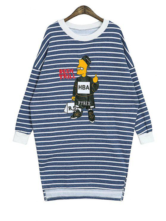 ladies Cartoon Print Striped Sweatshirt - BLUE ONE SIZE(FIT SIZE XS TO M)