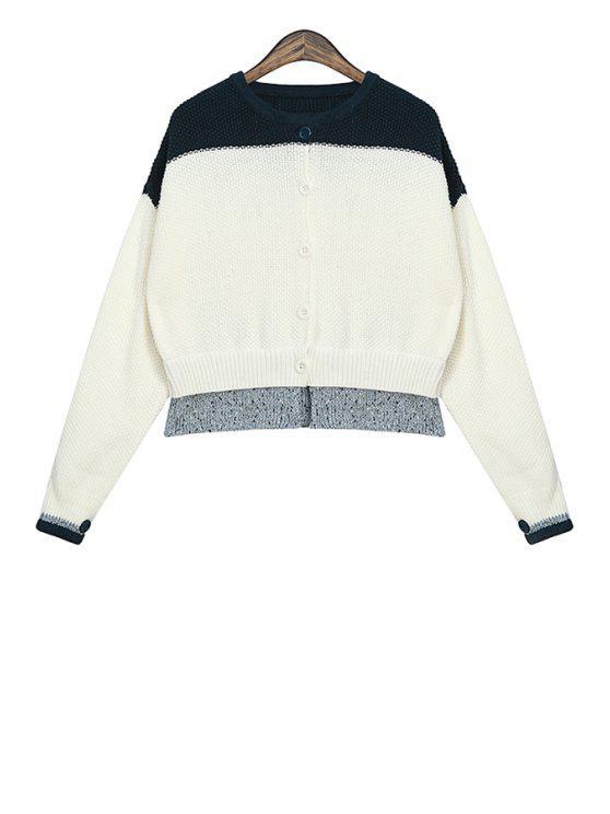 latest Round Collar Color Block Cardigan - WHITE S