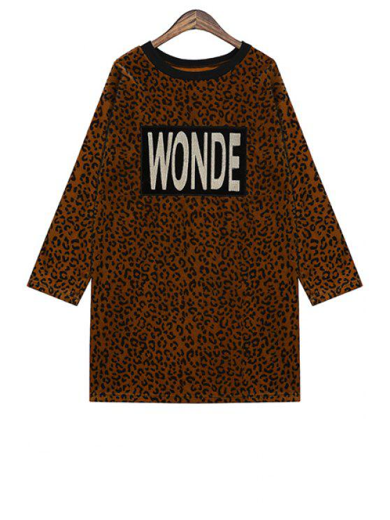 buy Letter Embroidery Leopard Pattern Dress - COFFEE ONE SIZE(FIT SIZE XS TO M)