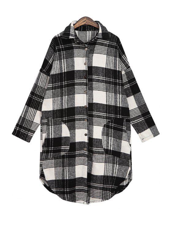 shops Plaid Print Long Sleeve Pocket Shirt - BLACK ONE SIZE(FIT SIZE XS TO M)
