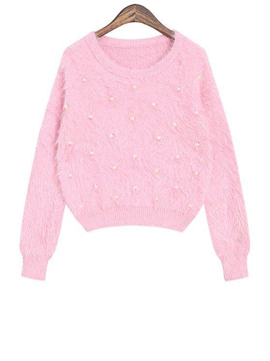 fashion Solid Color Beaded Long Sleeve Sweater - PINK ONE SIZE(FIT SIZE XS TO M)
