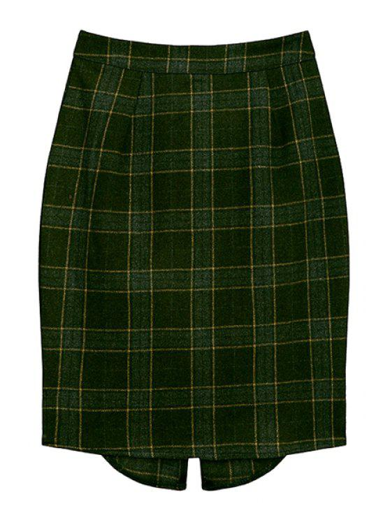 trendy Plaid Pattern High Waisted Skirt - GREEN S