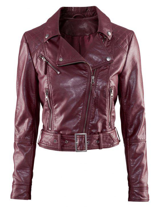 women Lapel Collar PU Leather Jacket - WINE RED XS