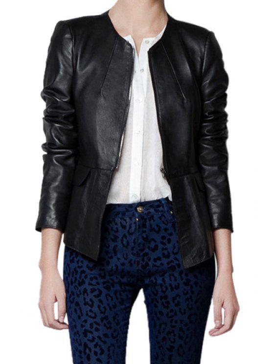 sale Ruffles Splicing PU Leather Jacket - BLACK XS