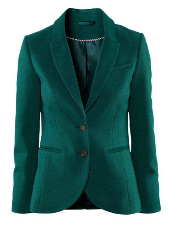 women's Solid Color Lapel Collar Blazer - DEEP GREEN XS