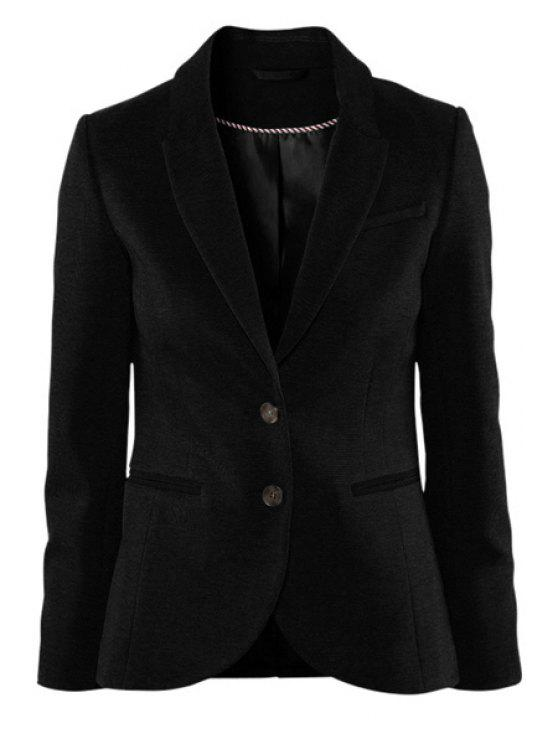 shop Solid Color Lapel Collar Blazer - BLACK L