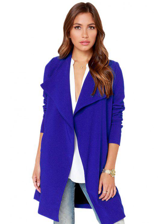 fancy Turn-Down Collar Solid Color Trench Coat - BLUE XS