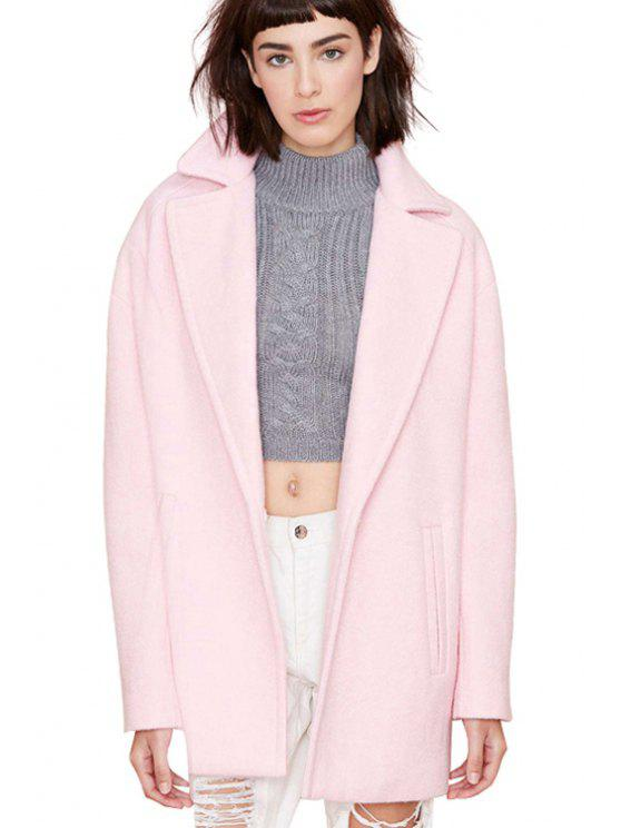 women Pink Lapel Collar Worsted Coat - PINK XS