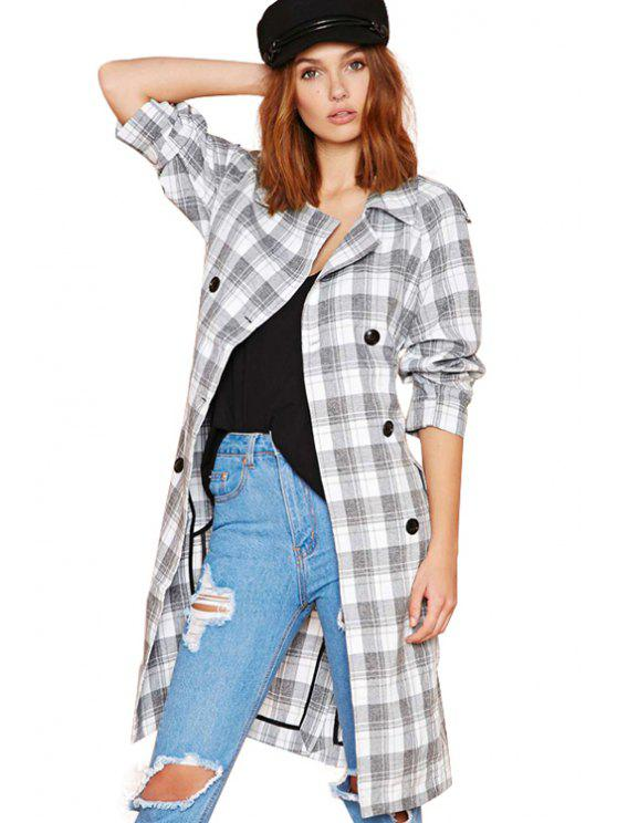 new Plaid Print Lapel Collar Trench Coat - CHECKED XS