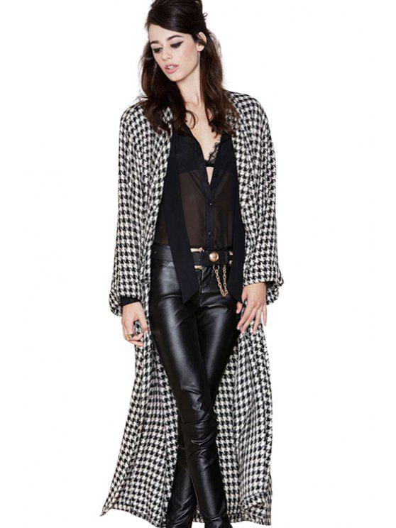 sale Houndstooth Pattern Trench Coat - WHITE AND BLACK XS