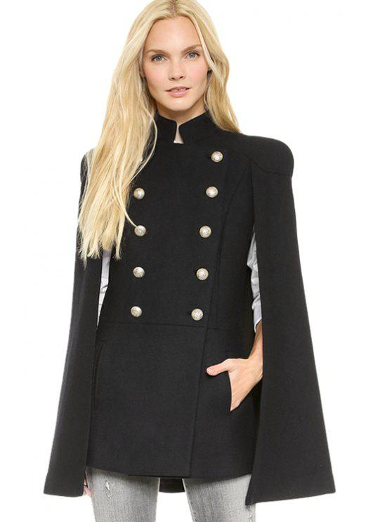 ladies Double-Breasted Cape-Style Coat - BLACK XS