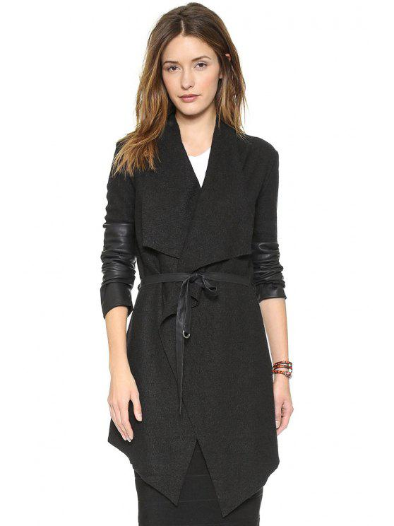 outfit PU Leather Splicing Self-Tie Coat - BLACK XS