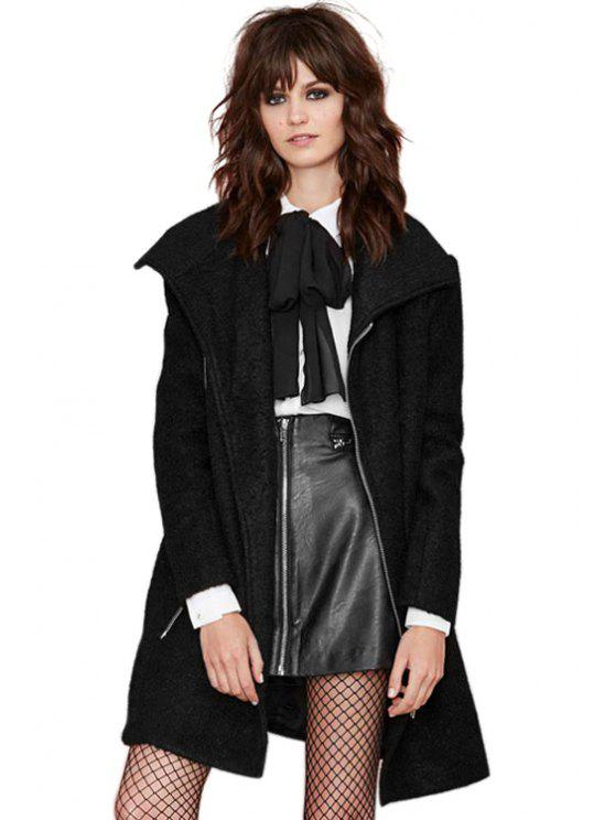 women Black Zipper Worsted Coat - BLACK XS