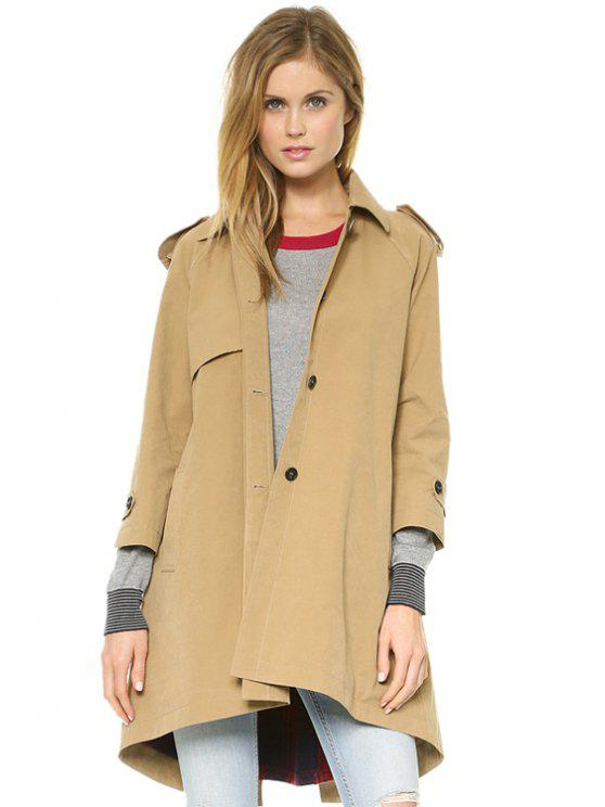 trendy Nine-Minute Sleeve Solid Color Coat - KHAKI XS