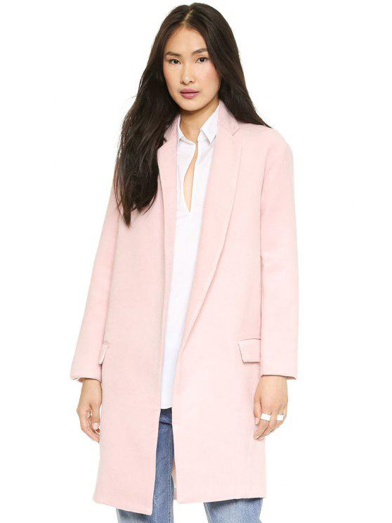outfits Lapel Collar Pink Worsted Coat - PINK S