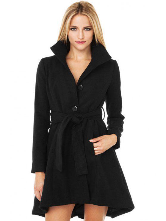 hot Black Turn-Down Collar Self-Tie Coat - BLACK XS