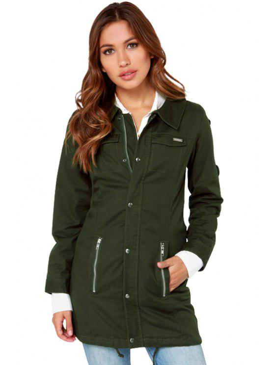 trendy Hooded Solid Color Trench Coat - ARMY GREEN M