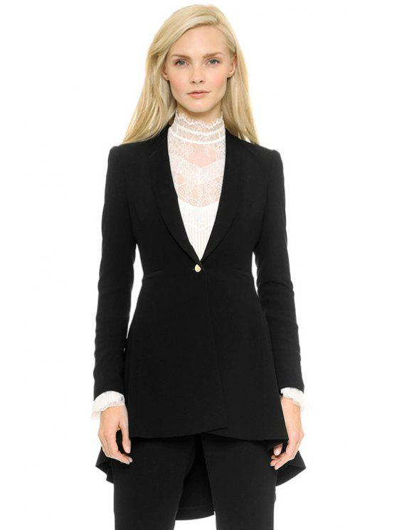 shops Shawl Collar Black High-Low Hem Blazer - BLACK M