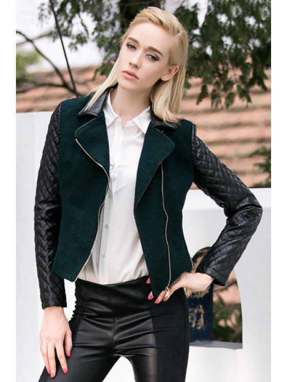 ladies Lapel Collar PU Leather Splicing Jacket - GREEN S