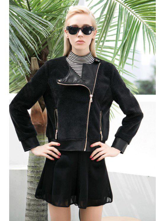 sale PU Leather Splicing Flocking Jacket - BLACK S