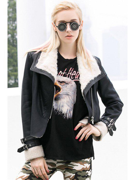 women Long Sleeve Lamb Wool Splicing Jacket - BLACK S