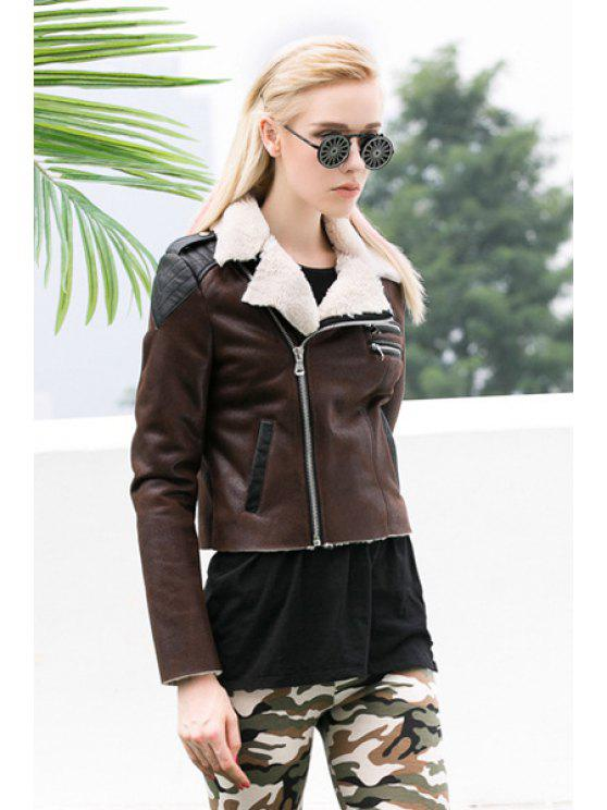 best PU Leather Color Block Jacket - DARK KHAKI S