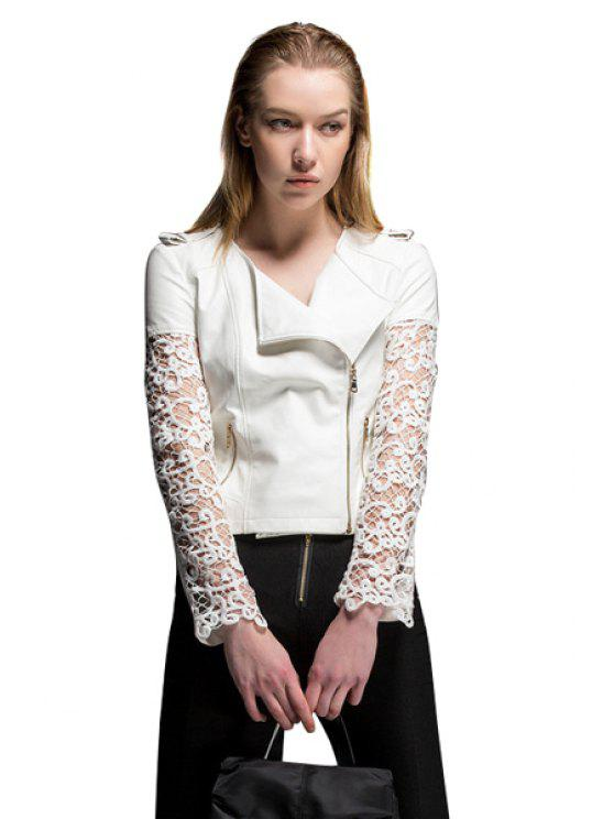 outfit Lace Splicing Long Sleeve Jacket - WHITE S