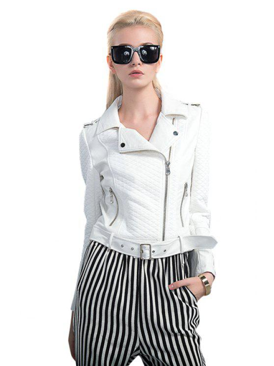 fancy White PU Leather Splicing Belt Jacket - WHITE S