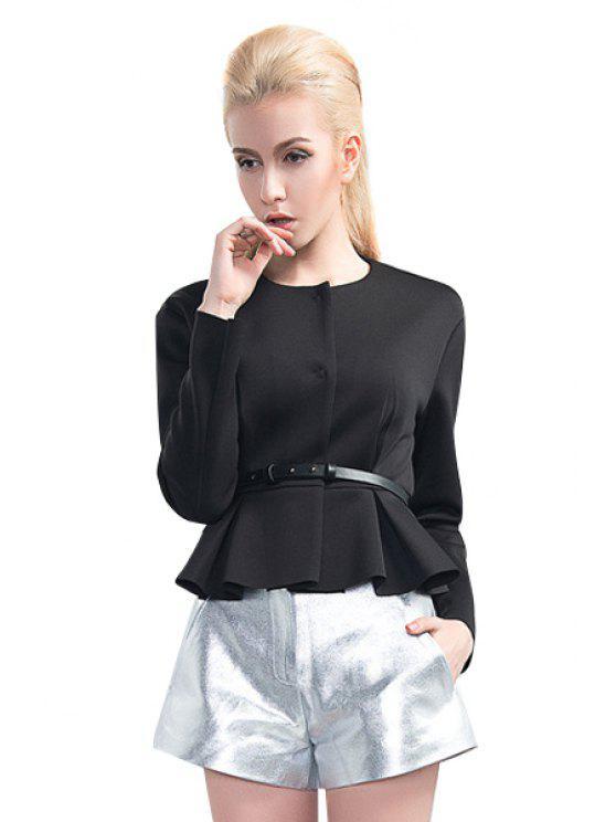 lady Solid Color Ruffles Splicing Belt Coat - BLACK S