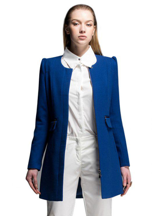 sale Solid Color Zipper Embellished Coat - BLUE S