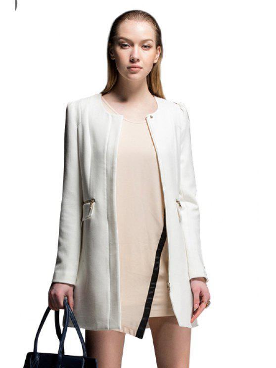 fancy Solid Color Zipper Embellished Coat - WHITE XL