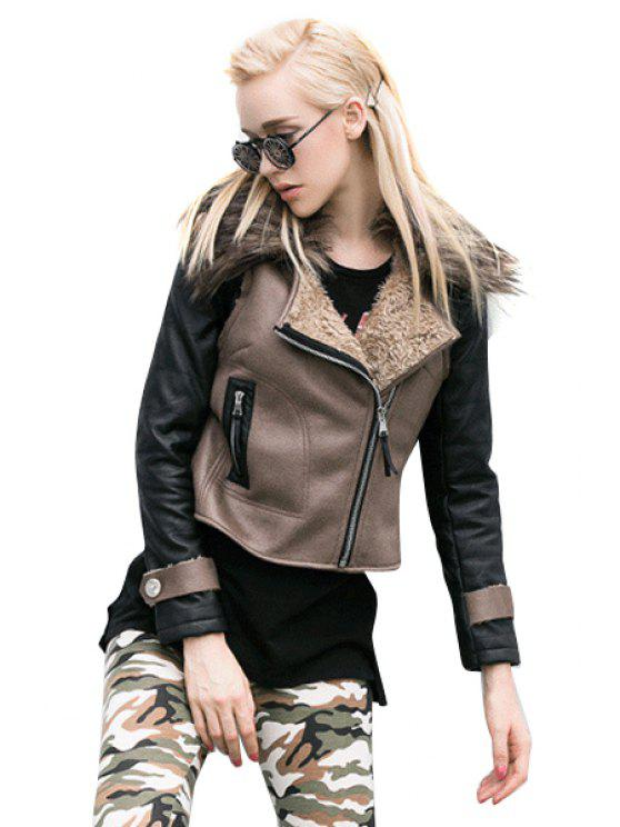 buy Lapel Color Block PU Leather Jacket - BROWN S