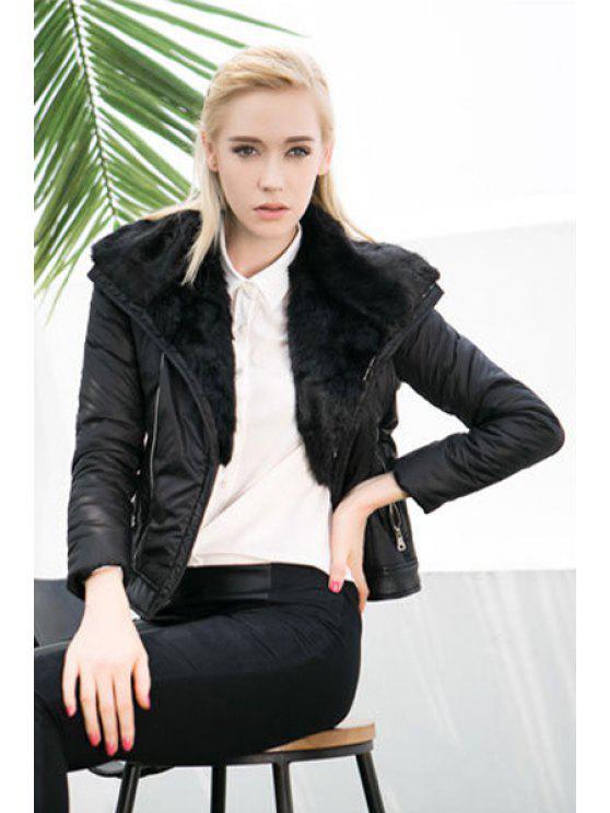 online Black PU Leather Splicing Jacket - BLACK S
