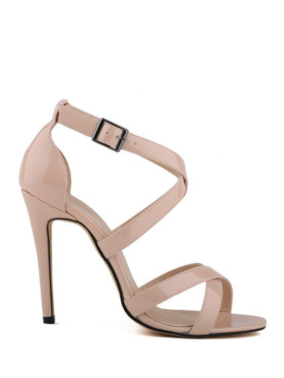 new Patent Leather Criss-Cross Buckle Sandals - APRICOT 35