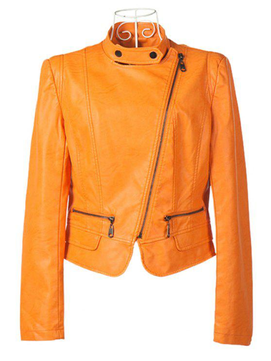 sale Orange Stand Collar PU Leather Jacket - ORANGE S