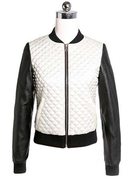 women Stand Collar Color Block Jacket - WHITE S