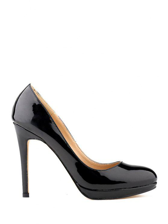 fashion Patent Leather Sexy High Heel Pumps - BLACK 35