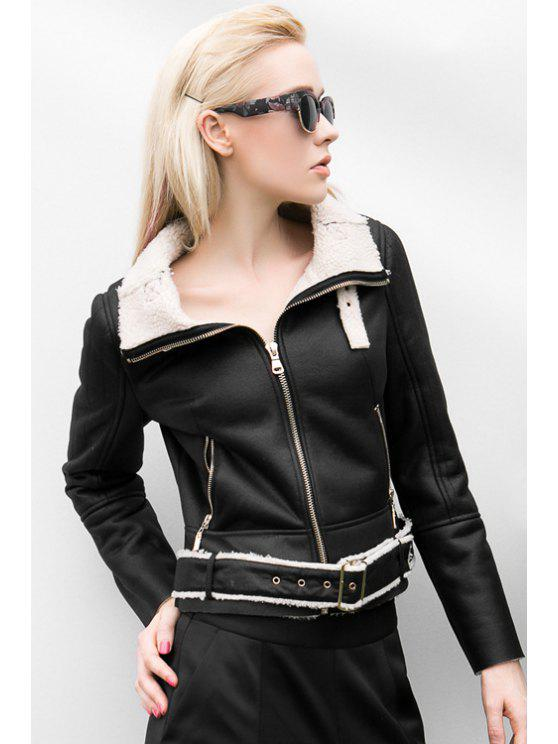 ladies Turn-Down Collar Suede Fabric Jacket - BLACK L
